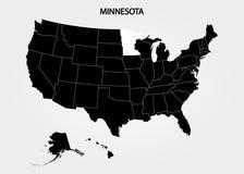 minnesota Estados del territorio de América en fondo gris Estado separado Ilustración del vector