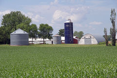 A Minnesota Farm Site. It includes a grain bin, a silo and some various out buildings. A dairy farm was set up to feed milk cows and to get the product to market Stock Images