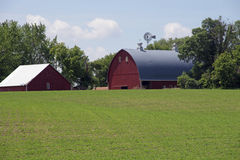 A Minnesota Farm Site. This farm is located in Sibley County, Minnesota. It includes a barn, a silo and some various out buildings. A dairy farm was set up to Stock Photos