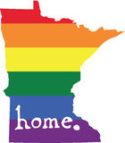 Minnesota gay pride vector state sign. LGBT community pride vector U.S. state decal: easy-edit layered vector EPS10 file scalable to any size without quality royalty free illustration