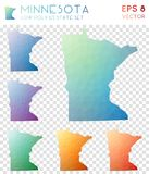 Minnesota geometric polygonal maps, mosaic style. Minnesota geometric polygonal maps, mosaic style us state collection. Ecstatic low poly style, modern design Royalty Free Stock Photography