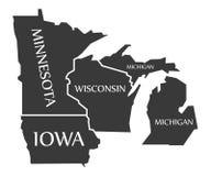 Minnesota - Iowa - Wisconsin - Michigan Map labelled black. Illustration Royalty Free Stock Photo