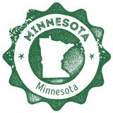 Minnesota map vintage stamp. vector illustration