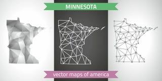 Minnesota-Satz Grau und polygonale Karten des Silbermosaiks 3d Grafische Vektordreieckgeometrieentwurfs-Schattenperspektive zeich Stockfotos