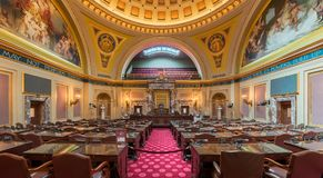 Minnesota Senate Chamber. In the State Capitol at 75 Rev Dr Martin Luther King Jr Boulevard in St. Paul, Minnesota stock photography
