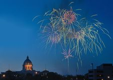 Minnesota State Capitol and Fireworks Stock Photography