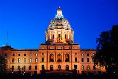 Minnesota State Capitol. The Minnesota State Capitol in St Paul is floodlit at night stock image