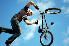 Minnesota State Fair. SAINT PAUL - SEPTEMBER 4:  An exhibition of bicycle tricks at the Minnesota State Fair, on Sept. 2, 2011 in St. Paul, Minnesota Royalty Free Stock Photography