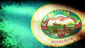 Minnesota State Flag Waving, grunge look. Minnesota State Flag Waving grunge look, video footage stock footage
