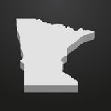 Minnesota State map in gray on a black background 3d Stock Photos