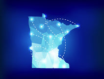 Minnesota state map polygonal with spotlights places Royalty Free Stock Photography