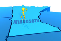Minnesota state outline with yellow stick figure Royalty Free Stock Photography