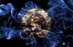 Minnesota state smoke flag, United States Of America. On a black background stock photo