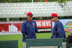 Minnesota Twins Batting Coaches. The Minnesota Twins Batting Coaches Tom Brunansky and Rudy Hernandez discussing strategy at a spring training practice session Stock Photos