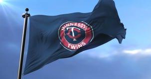 Minnesota Twins flag, american professional baseball team, waving - loop. Flag of the team of the Minnesota Twins, american professional baseball team, waving at stock footage