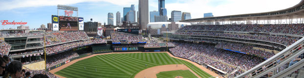 Minnesota Twins Target Field Baseball Stadium. Panoramic photo of Target Field Baseball Stadium in downtown Minneapolis, Minnesota Stock Photo