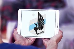 Minnesota United FC Soccer Club logo. Logo of Minnesota United FC Soccer Club on samsung tablet. Minnesota United FC is an American professional soccer club Stock Photos
