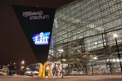 Minnesota Vikings US-Bank-Stadion in Minneapolis nachts, Standort von Super Bowl 52 lizenzfreie stockbilder