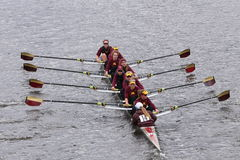 Minnesota Women's Crew races in the Head of Charles Regatta Women's Master Eights Royalty Free Stock Photo