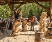 Wood Craving Shop Stock Image
