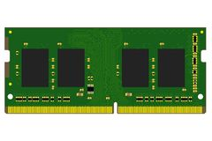 MinnesPCB för DDR4 SO-DIMM med lödde delar på vit bakgrund royaltyfri fotografi