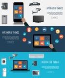 Minnestavla bärbar dator, Smartphone med internet av sakersymboler stock illustrationer
