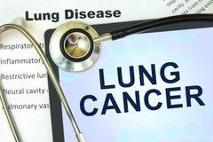 Minnestavla med den ordlungcancer och stetoskopet Arkivbild