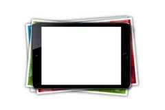 Minnestavla med den tomma skärmen och bunten av utskrivaven bildcollage Fotografering för Bildbyråer