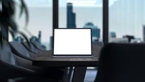 Minnestavla med den tomma vita skärmen och tangentbordet på tabellen workspace framförande 3d arkivfoto