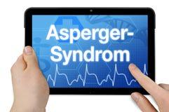 Minnestavladator med det tyska ordet för den Asperger syndrommen - Asperger Syndrom arkivfoto