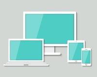 Minnestavlan för datormoniterbärbara datorn och ilar telefonen Arkivbilder