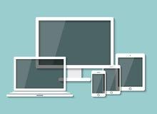 Minnestavlan för datormoniterbärbara datorn och ilar telefonen Royaltyfri Foto