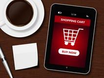 Minnestavlan med shoppingvagnen, koppen kaffe, pennan och vit täcker Arkivbilder
