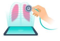 MinnestavlaPC med hologrammet av den mänskliga lungan Telemedicinebegreppsillu Arkivbild