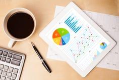 MinnestavlaPC:n visar diagram på skärmen med en kopp kaffe på ett skrivbord Arkivfoton