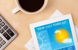 MinnestavlaPC som visar väderprognos på skärmen med en kopp av coffe Arkivbilder