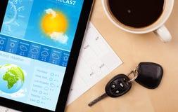 MinnestavlaPC som visar väderprognos på skärmen med en kopp av coffe Royaltyfria Bilder