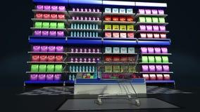 Minnestavlatangentbordet ändrade livsmedelsbutiken shoppar direktanslutet, online-supermarket vagn frambragd shopping för bild 3d