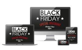 Minnestavlor Smartphone för anteckningsbok för Black Friday uppsättningbildskärm Royaltyfria Bilder