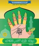 Minnet av Allah, Zikr med din hand royaltyfri illustrationer