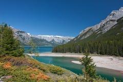 Minnewanka lake. Running around foot of cascade mountain, Banff Nationa Park, Alberta, Canada Stock Photos