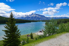 Minnewanka Loop and Lake Johnson near Banff Stock Images