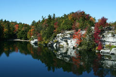 Minnewaska State Park. Beautiful fall foliage and lake at Minnewaska State Park, in upstate New York, part of the Shawangunk Mountain Regions Royalty Free Stock Photography