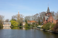 Minnewater in Bruges,  Belguim. Peaceful view of Minnewater in the spring time Bruges, Belgium Royalty Free Stock Images