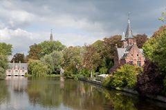 Minnewater castle, Bruges, Belgium Stock Photo