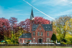 Minnewater castle in Bruges Royalty Free Stock Photo
