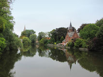 Minnewaterpark - Bruges, Belgium. Minnewaterpark lake landscape - Bruges, Belgium Stock Images