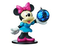 Minnie mouse Disney xmas ball isolated. Rome, Italy - Oct 21, 2018 : Minnie mouse from Disney character holding blue xmas or christmas ball isolated Stock Photo
