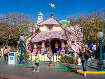 Minnie Mouse house in Toontown, Disneyland. ANAHEIM, CALIFORNIA - FEBRUARY 12: Minnie Mouse house in the Toontown section of Disneyland on February 12, 2016 in royalty free stock image