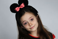 Minnie Mouse. Young teenager girl dressed like Minnie Mouse stock photography